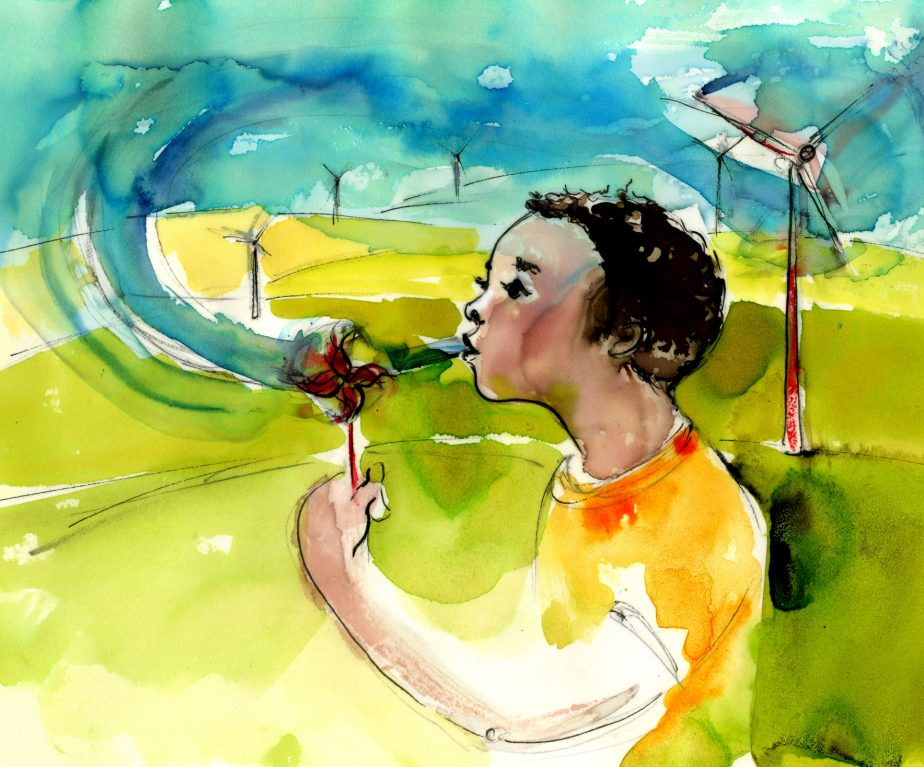 environmental illustration of boy blowing a paper windmill with real windmills in the background